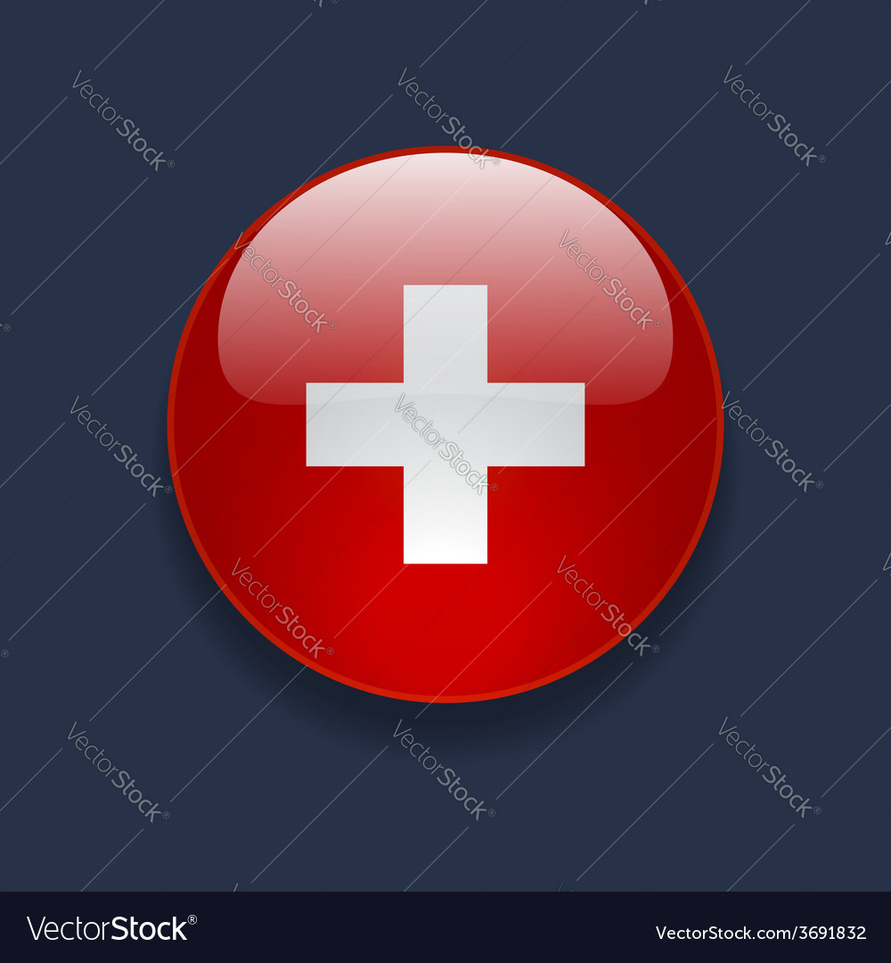 Round icon with flag of switzerland vector