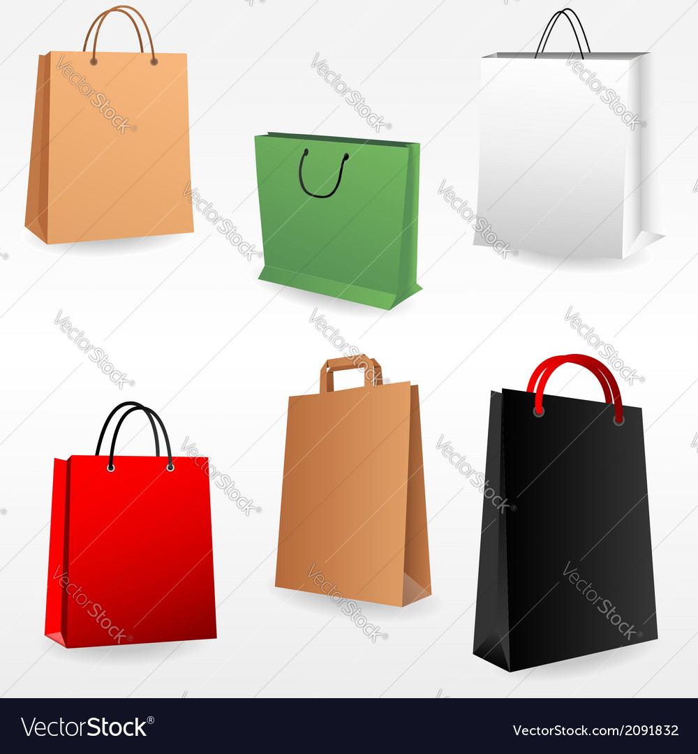 Shopping bags set vector | Price: 1 Credit (USD $1)