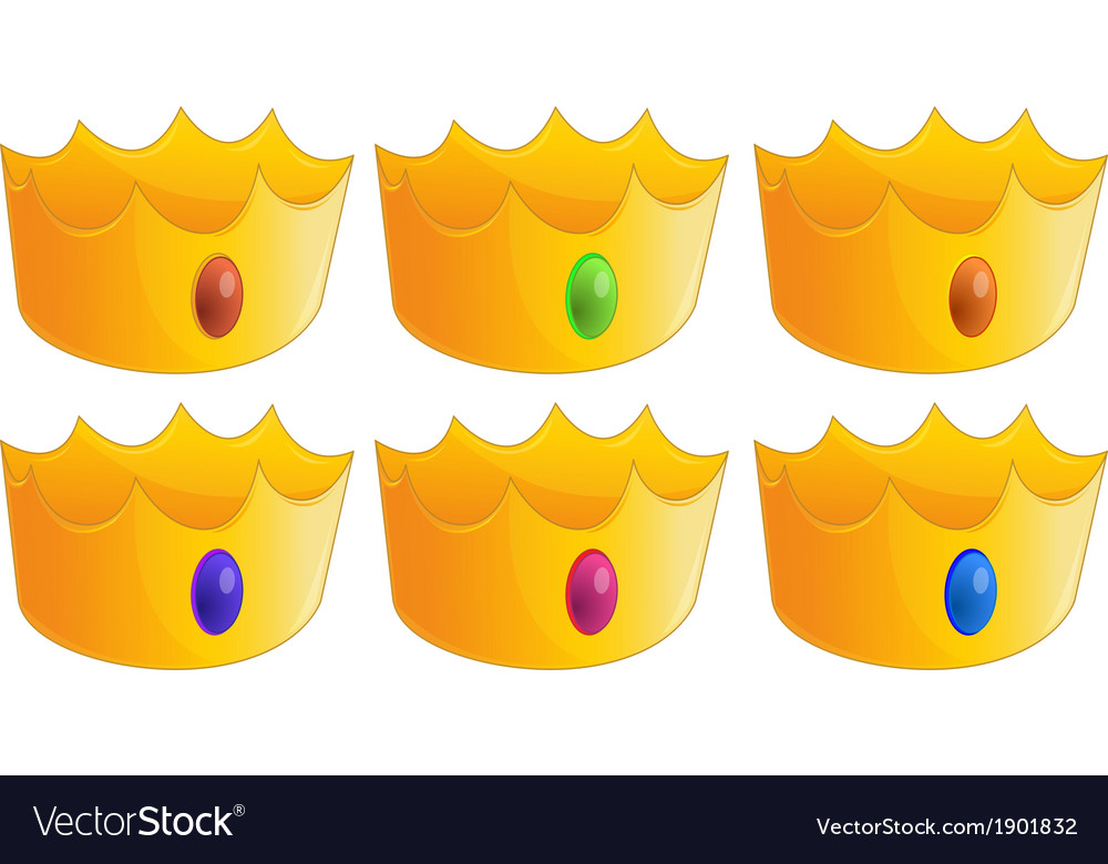 Six golden crowns vector | Price: 3 Credit (USD $3)