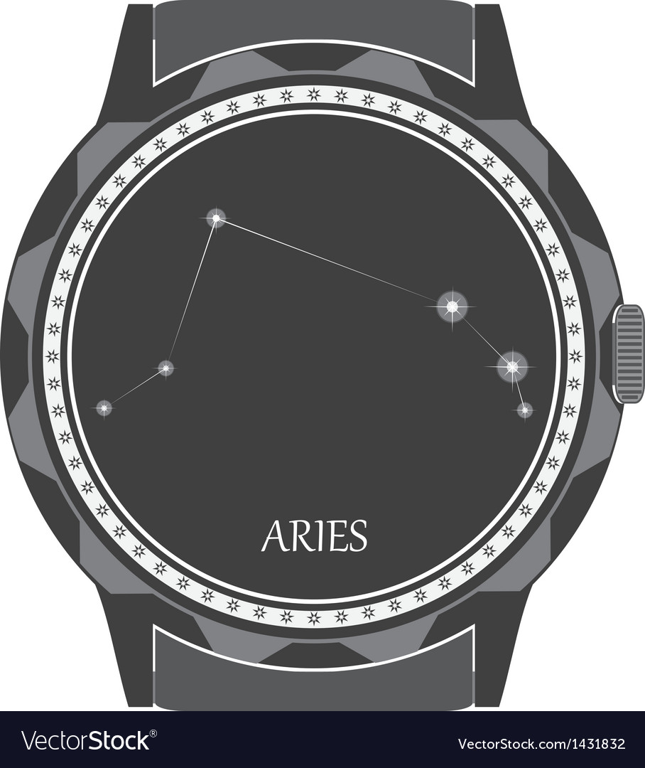The watch dial with the zodiac sign aries vector | Price: 1 Credit (USD $1)