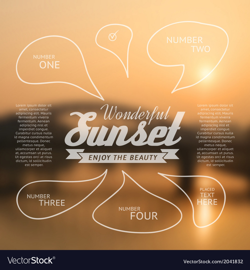 Wonderful sunset text lettering and infographics vector | Price: 1 Credit (USD $1)