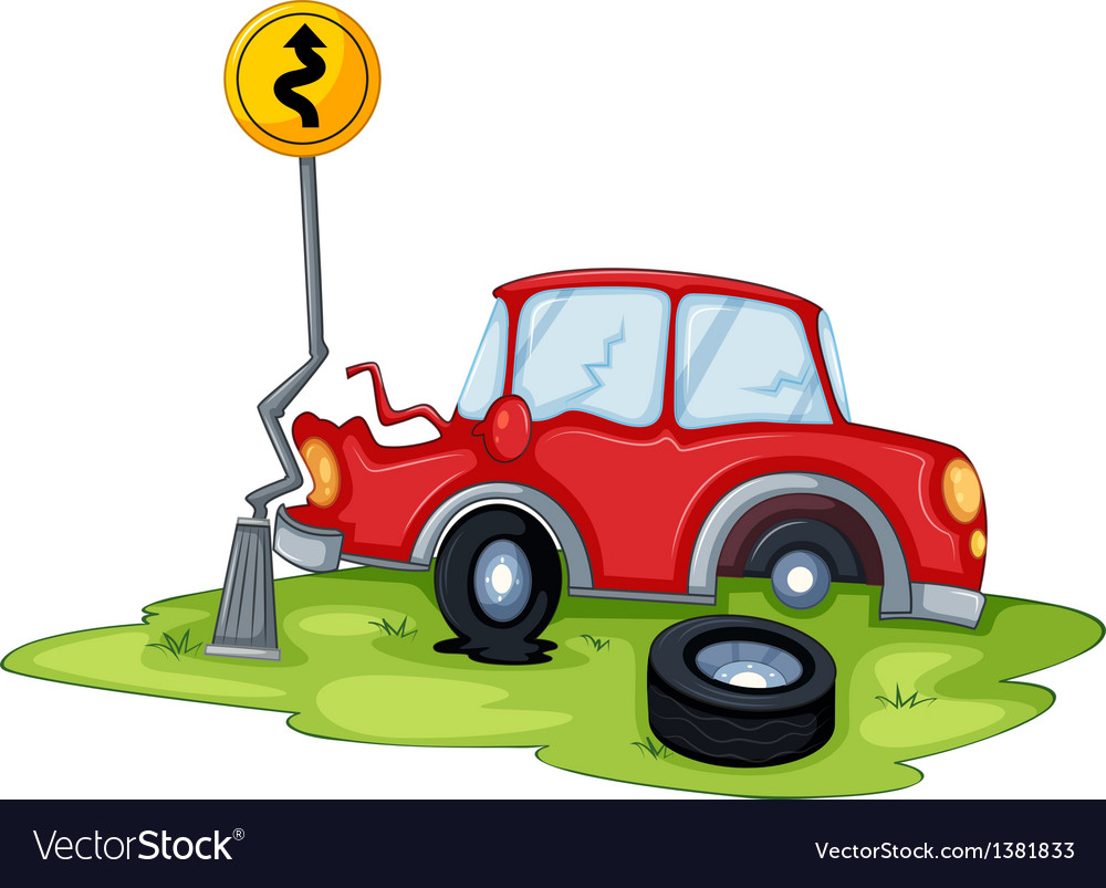 A red car bumping the signage at the road vector | Price: 1 Credit (USD $1)