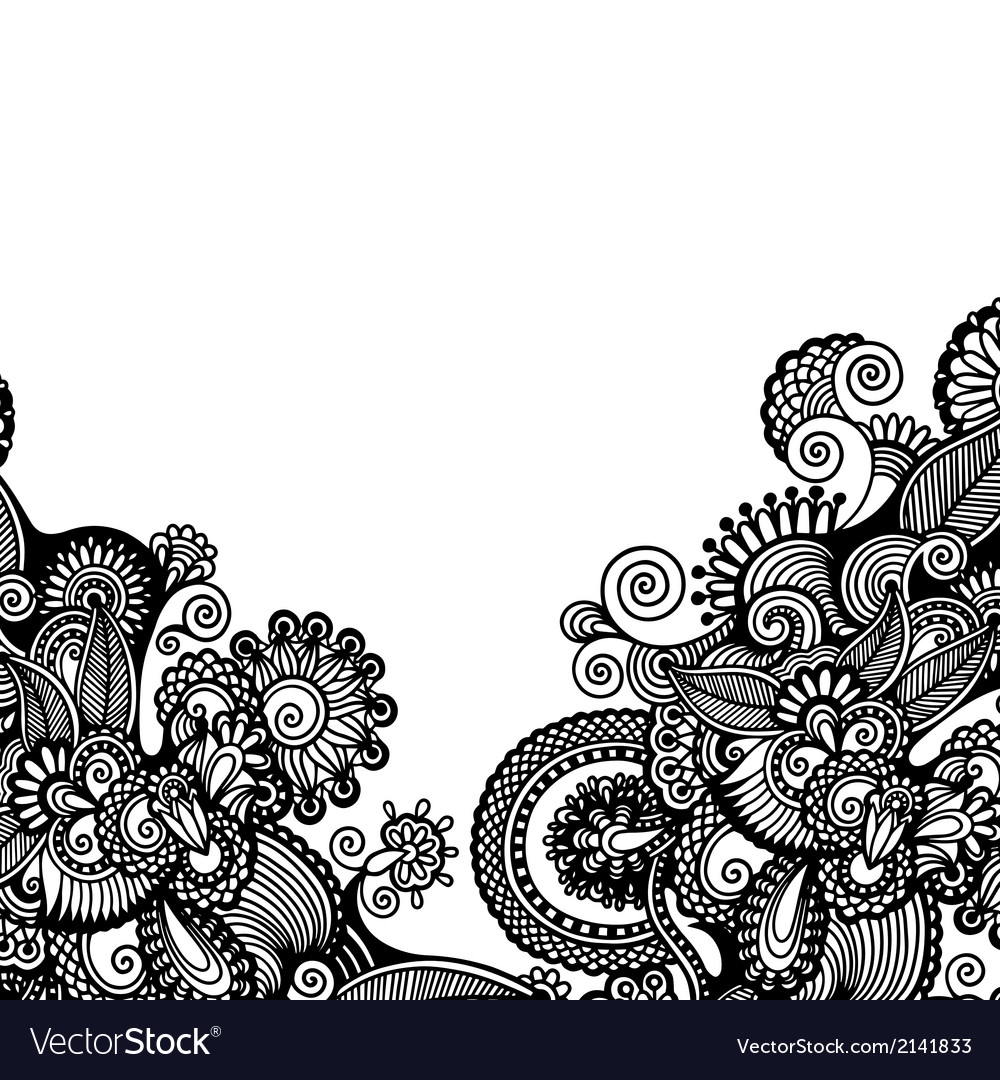 Black and white floral pattern vector | Price: 1 Credit (USD $1)