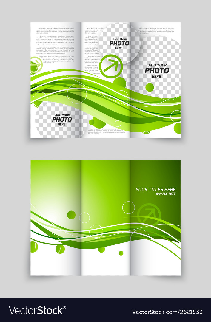 Green wave tri-fold brochure vector | Price: 1 Credit (USD $1)