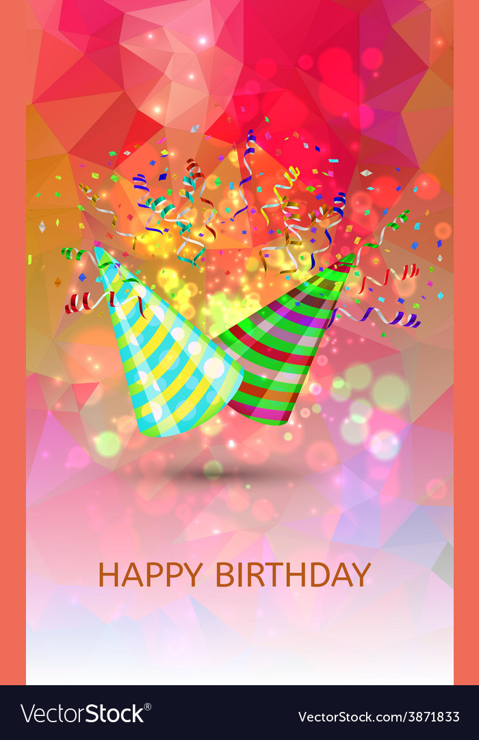 Happy birthday hats and confetti surprise vector | Price: 1 Credit (USD $1)