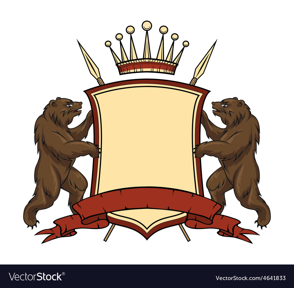 Heraldic logo element bears with shield and vector | Price: 1 Credit (USD $1)