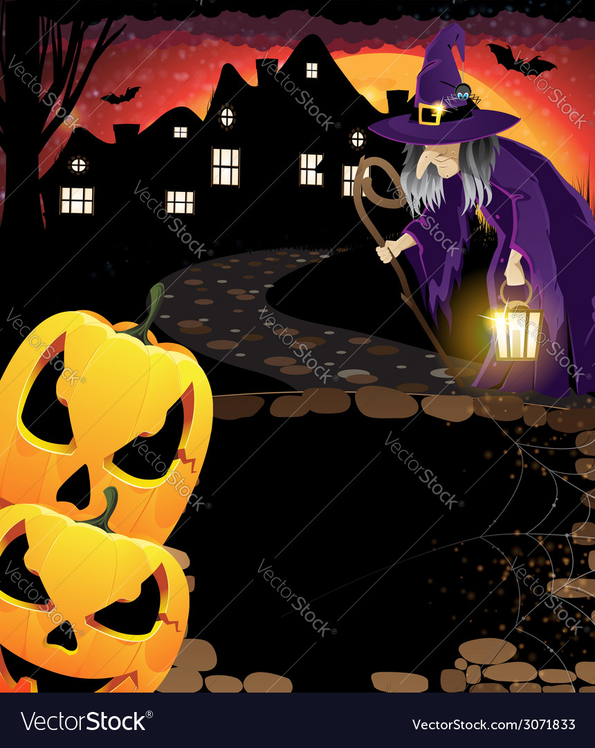 Laughing pumpkin head and old witch vector | Price: 3 Credit (USD $3)