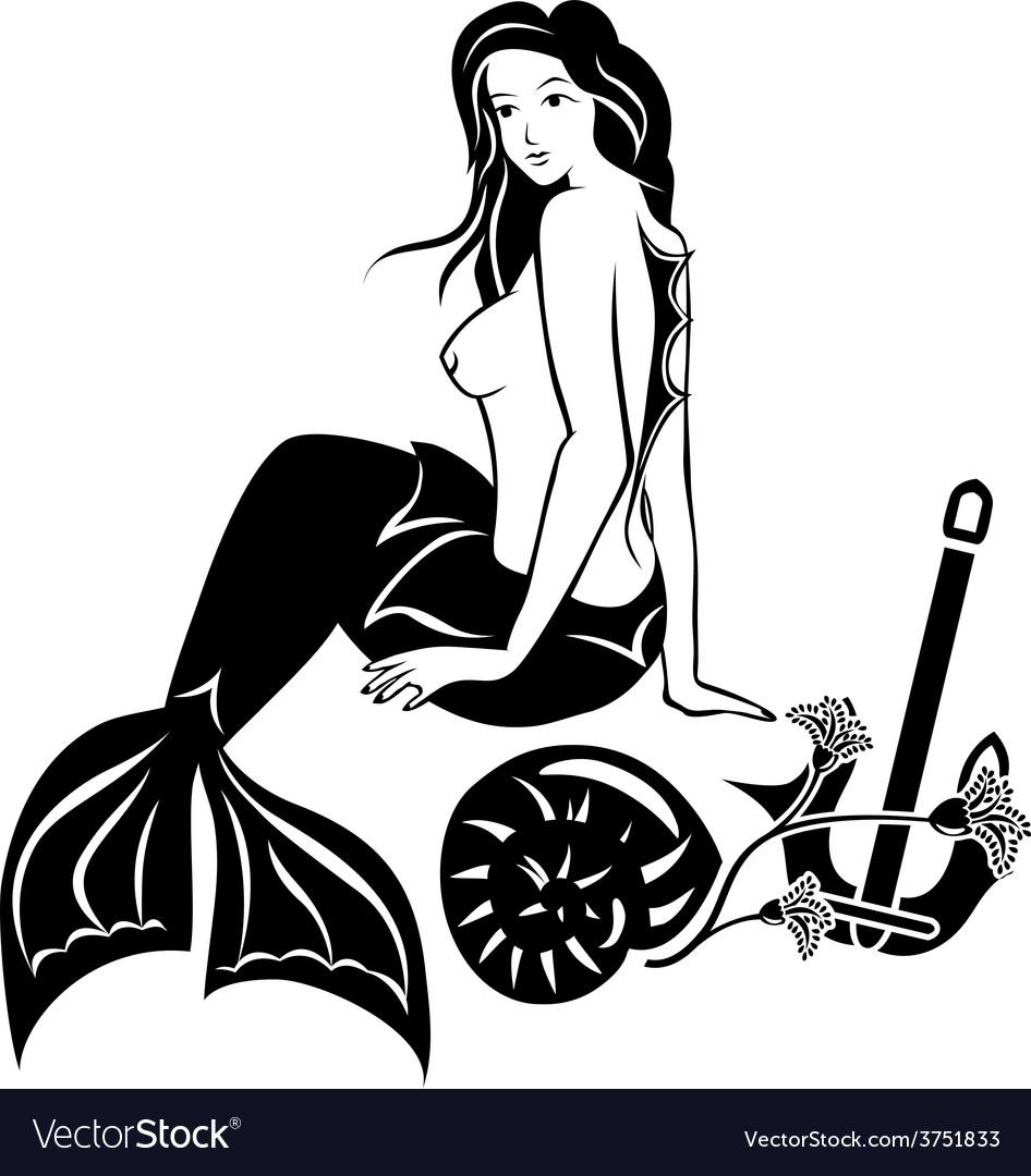 Nude sitting mermaid black stencil vector | Price: 1 Credit (USD $1)