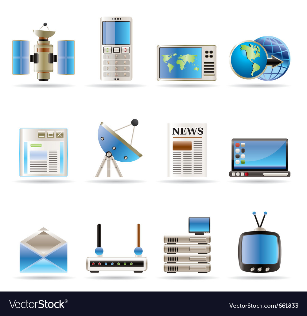 Realistic communication and business icons vector | Price: 1 Credit (USD $1)