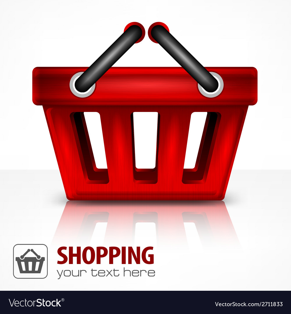 Red shopping basket vector | Price: 1 Credit (USD $1)