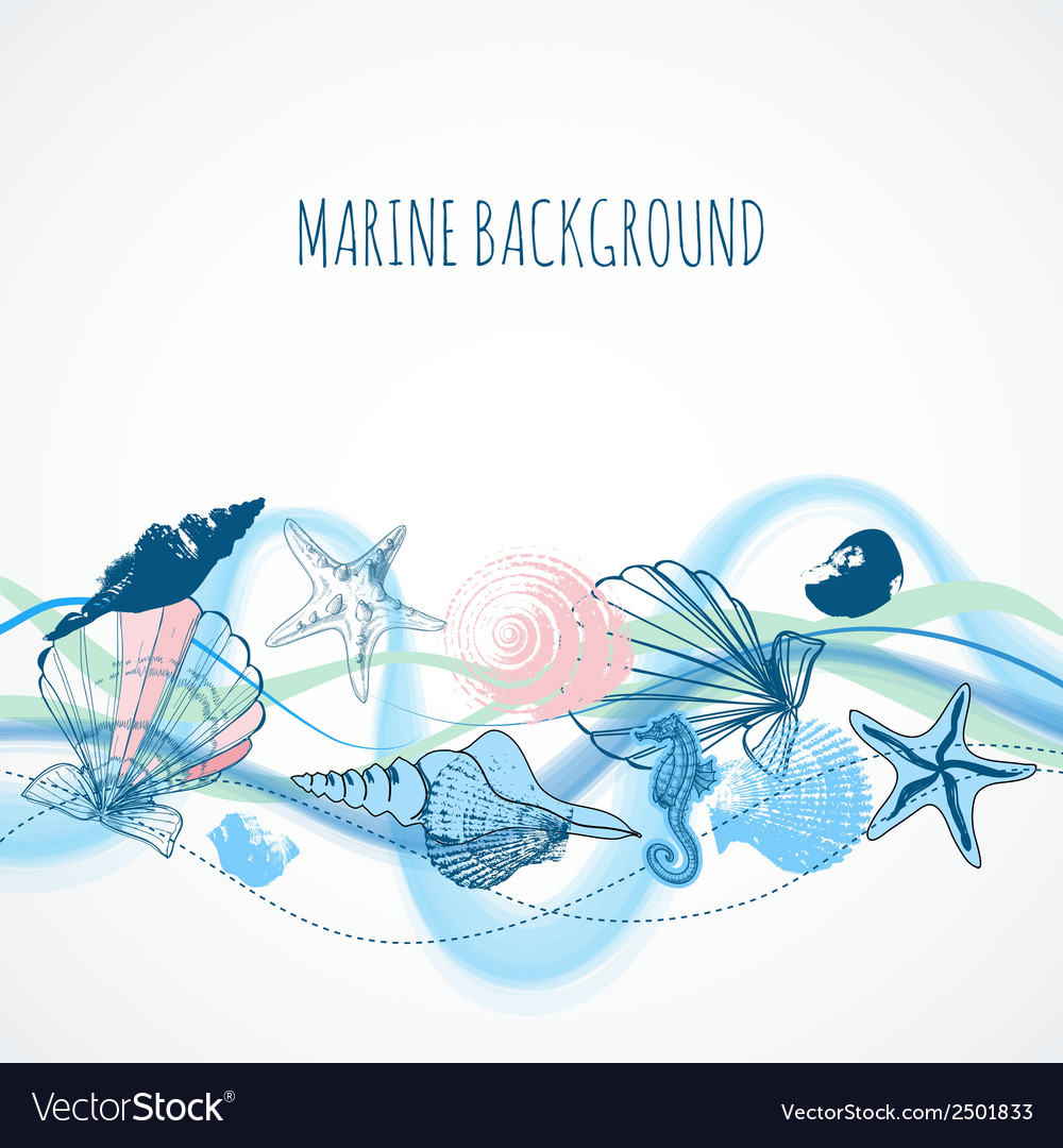 Sea waves background shells and marine life vector | Price: 1 Credit (USD $1)