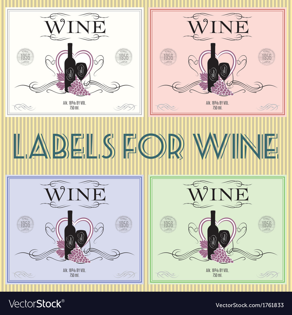Set of labels for wine with bunch grapes and barre vector | Price: 1 Credit (USD $1)
