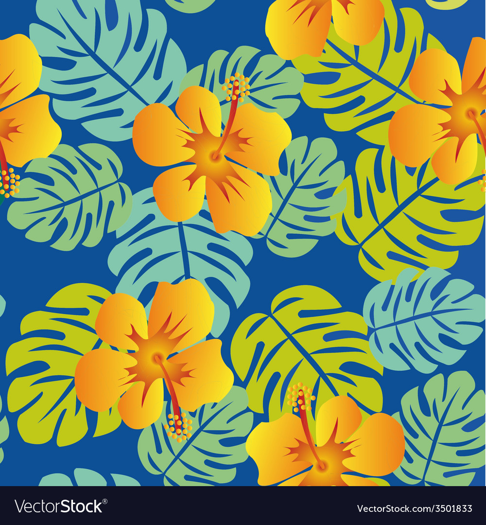 Tropical pattern with monstera leaves vector | Price: 1 Credit (USD $1)