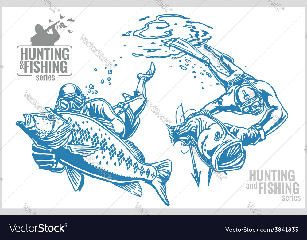 Underwater hunter and fish - vintage vector | Price: 3 Credit (USD $3)