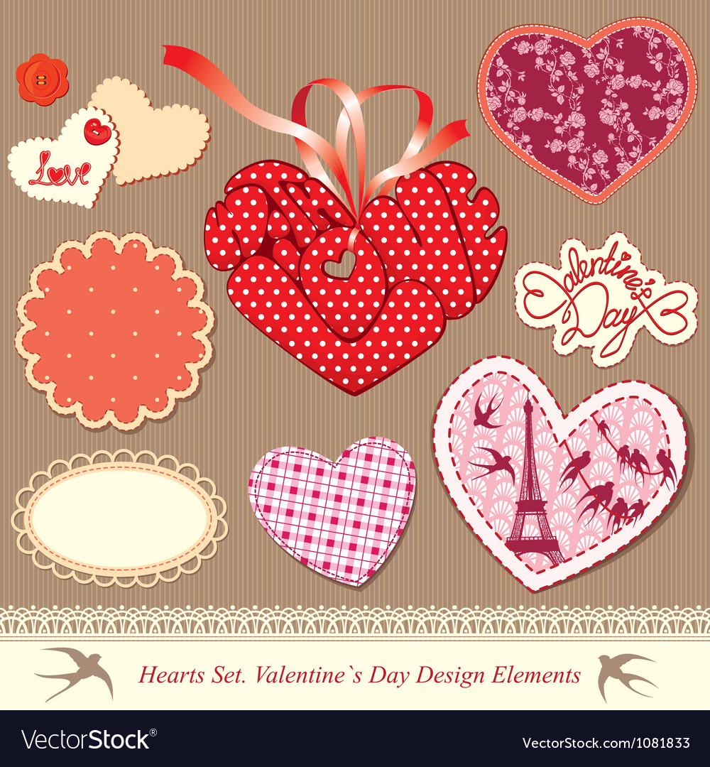 Valentines day design elements - different hearts vector | Price: 1 Credit (USD $1)