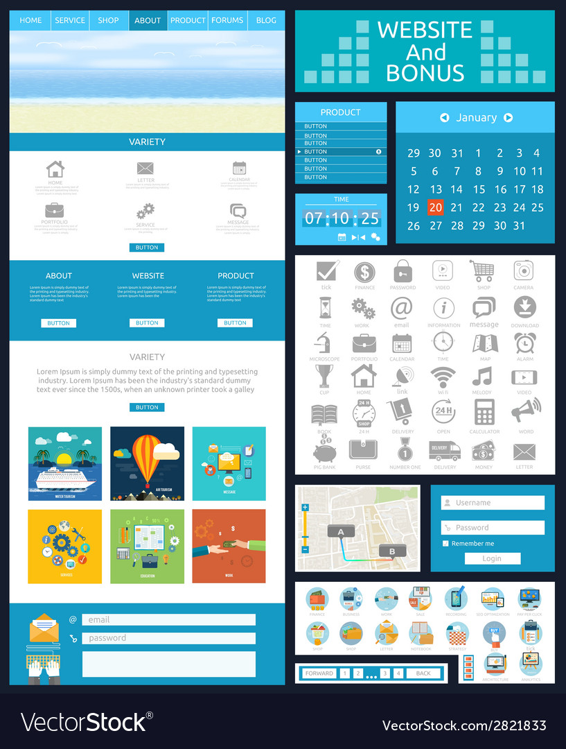 Website page template web design vector | Price: 1 Credit (USD $1)
