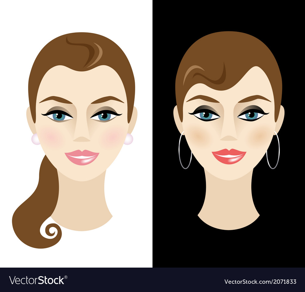 Young woman with daytime and nighttime makeup vector | Price: 1 Credit (USD $1)
