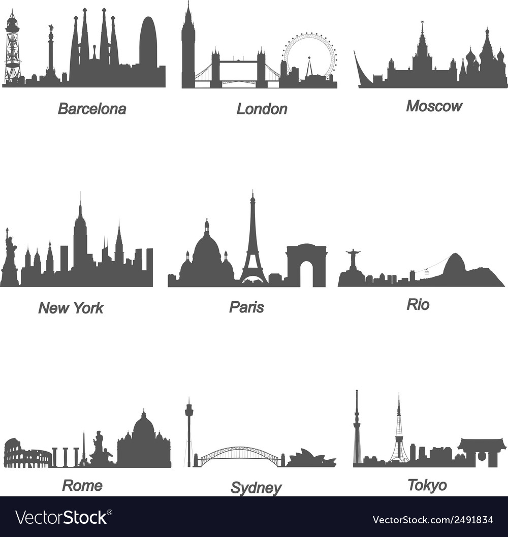 Famous cities silhouettes vector | Price: 1 Credit (USD $1)