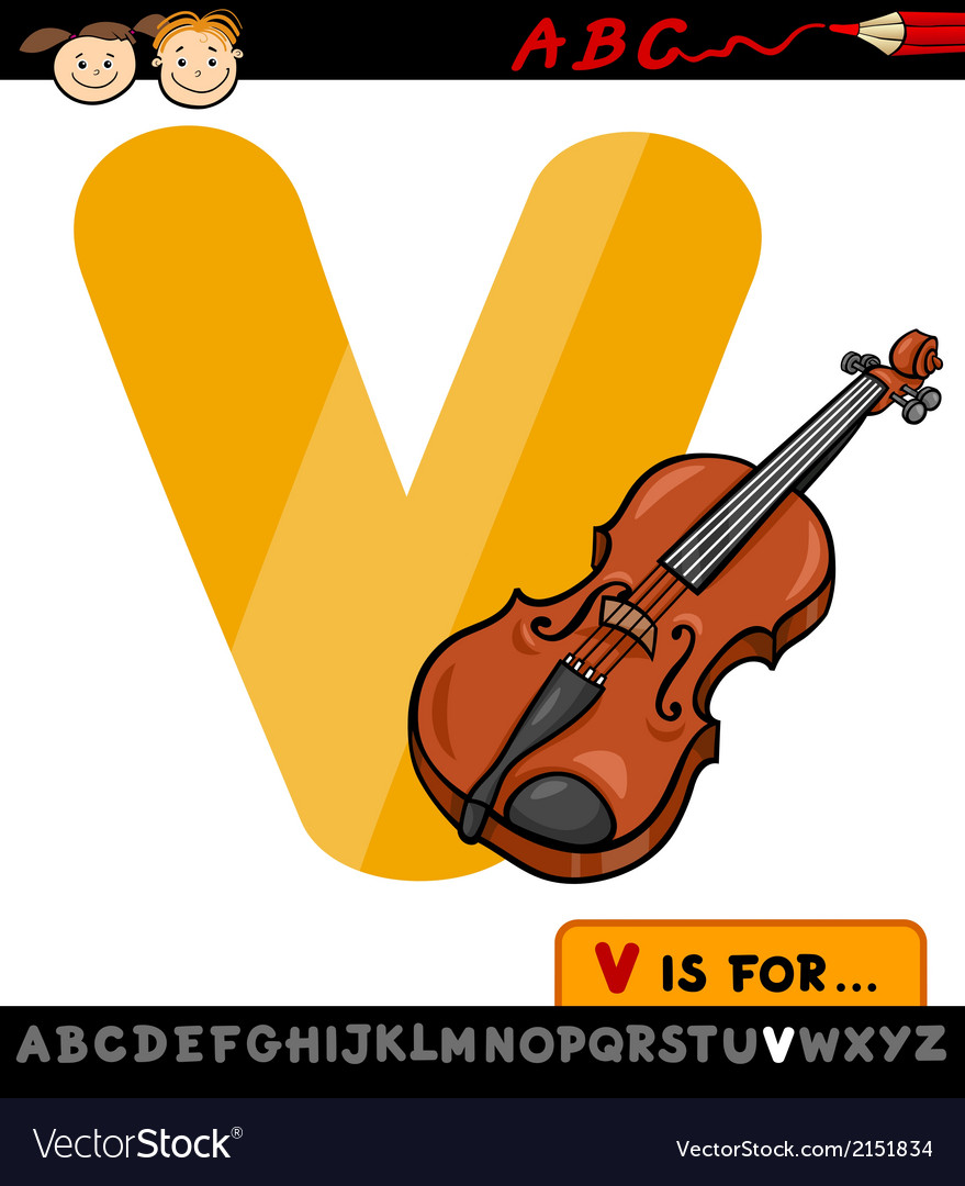 Letter v with violin cartoon vector | Price: 1 Credit (USD $1)