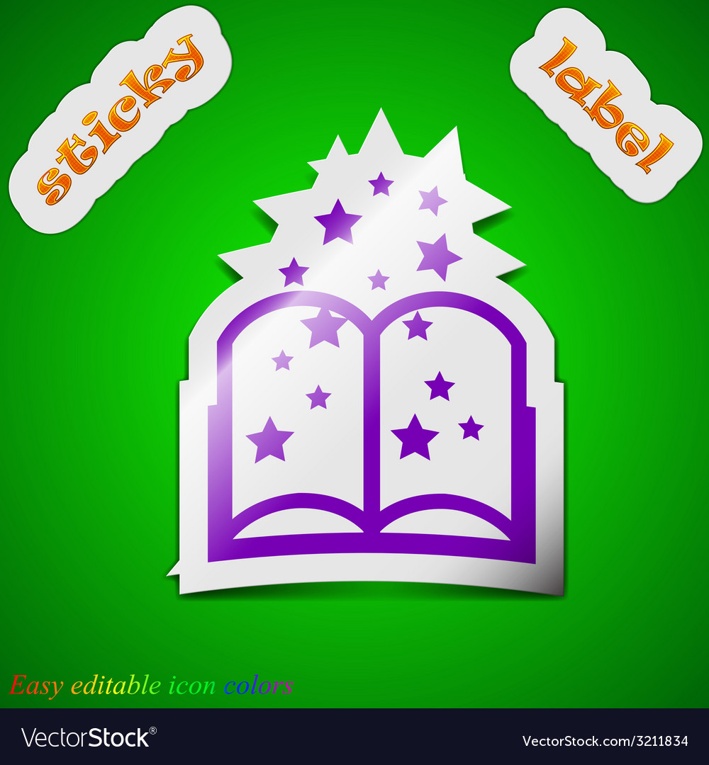 Magic book icon sign symbol chic colored sticky vector | Price: 1 Credit (USD $1)