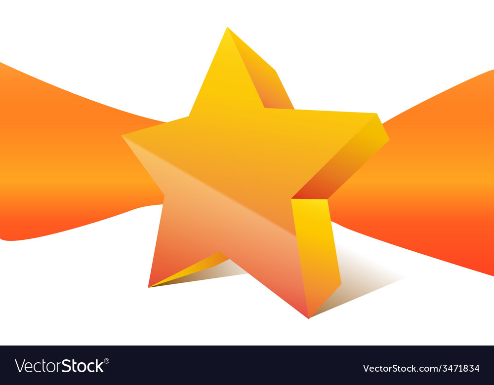 Orange star with ribbon on background vector | Price: 1 Credit (USD $1)