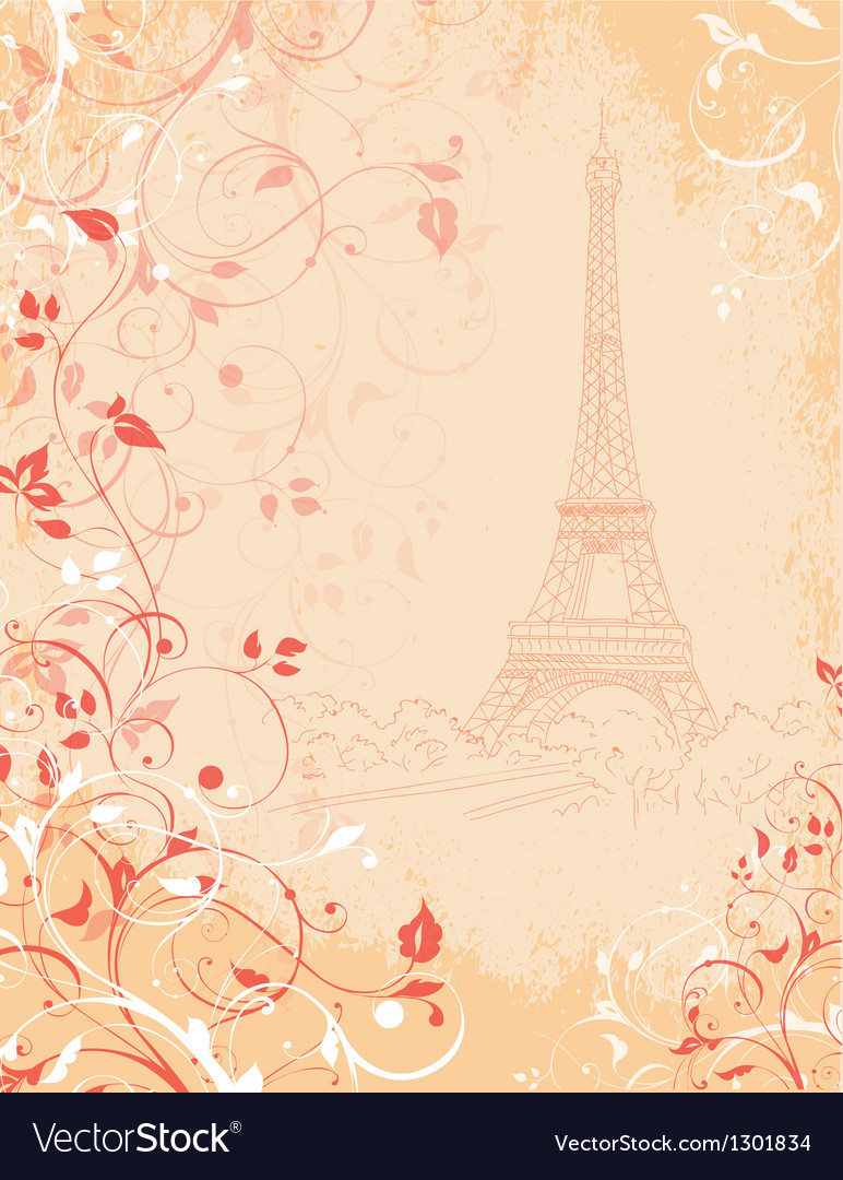 Paris background with the eiffel tower vector | Price: 1 Credit (USD $1)