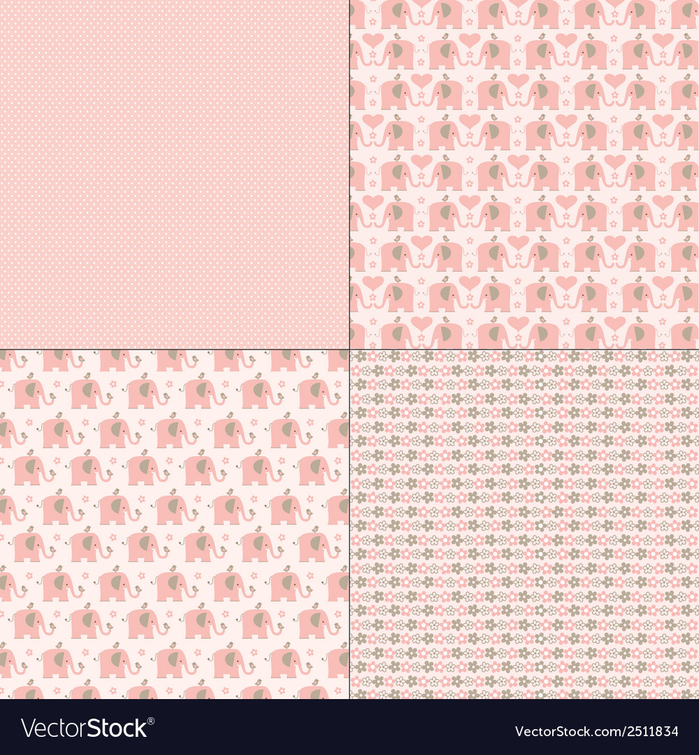 Pink elephant patterns vector | Price: 1 Credit (USD $1)