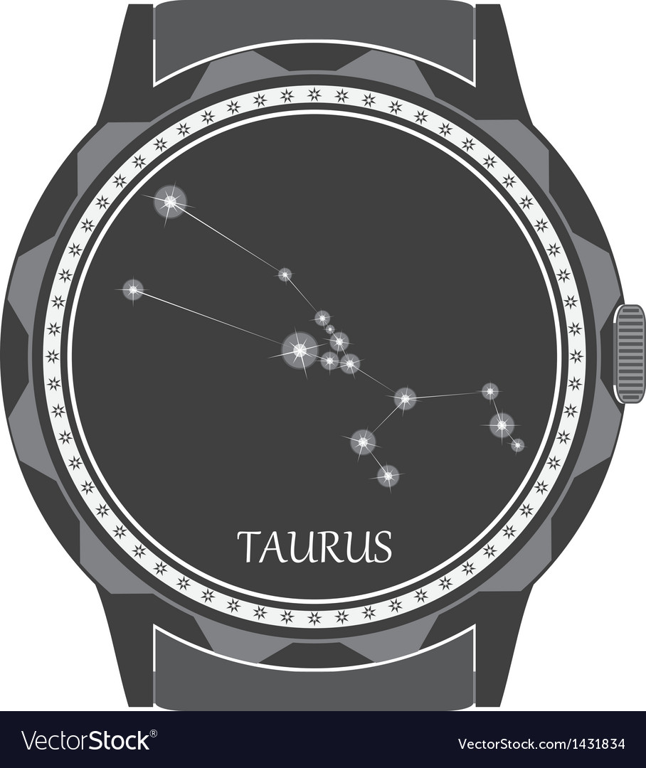 The watch dial with the zodiac sign taurus vector | Price: 1 Credit (USD $1)