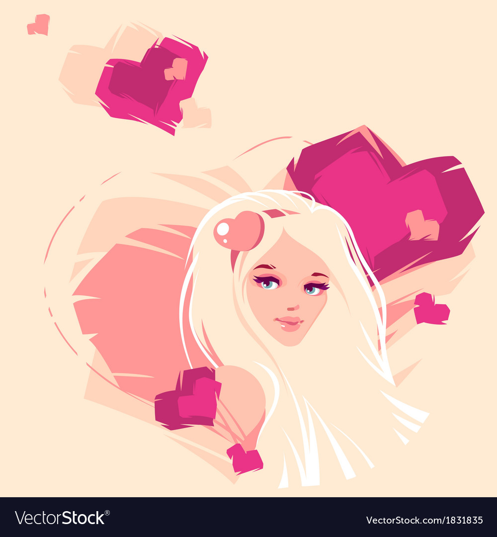 The girl and hearts vector | Price: 1 Credit (USD $1)