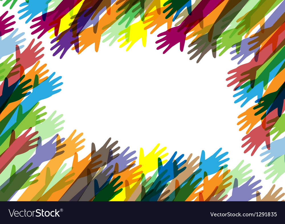 Hands of different colors cultural and ethnic dive vector | Price: 1 Credit (USD $1)