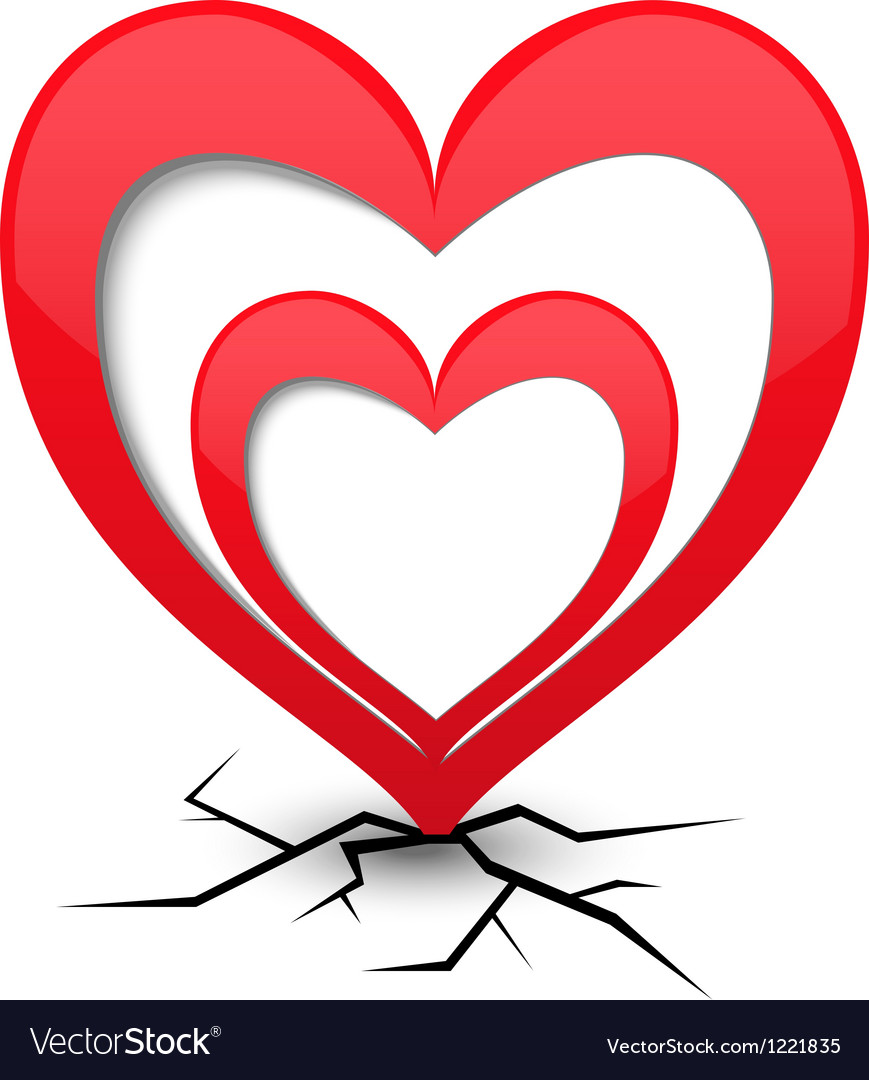 Icon with heart and cracks vector | Price: 1 Credit (USD $1)