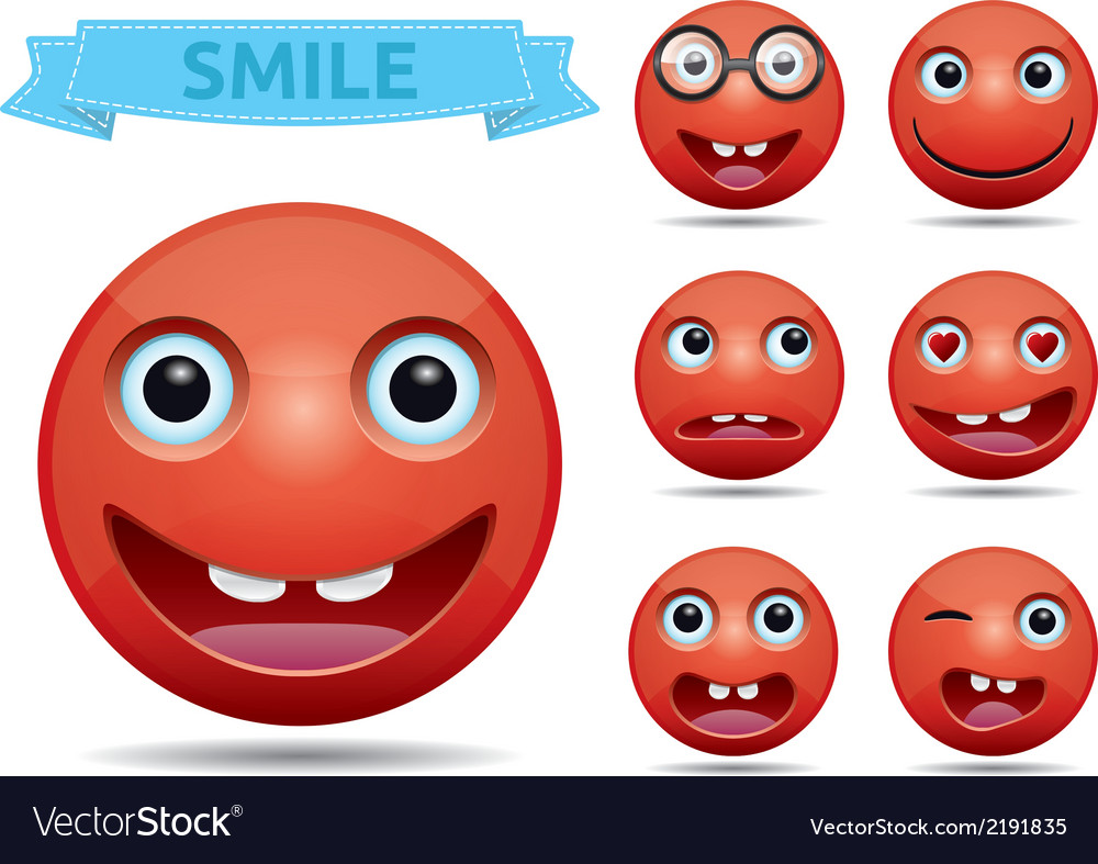 Isolated funny red circle glossy emoticon smiley vector | Price: 1 Credit (USD $1)