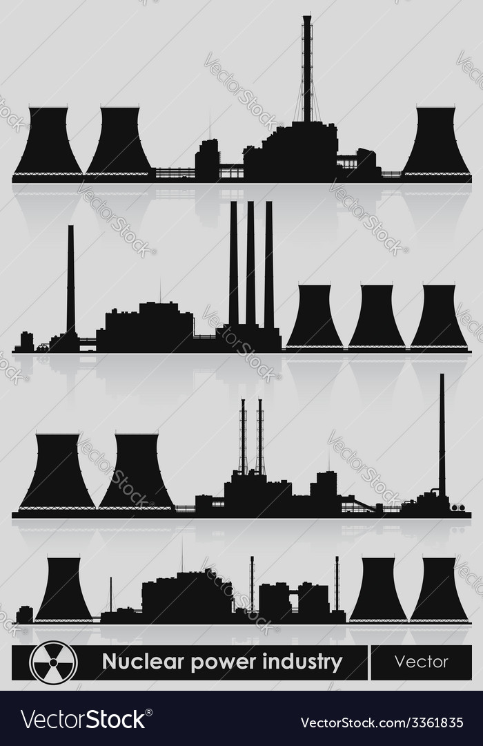 Nuclear power plants silhouette vector | Price: 1 Credit (USD $1)