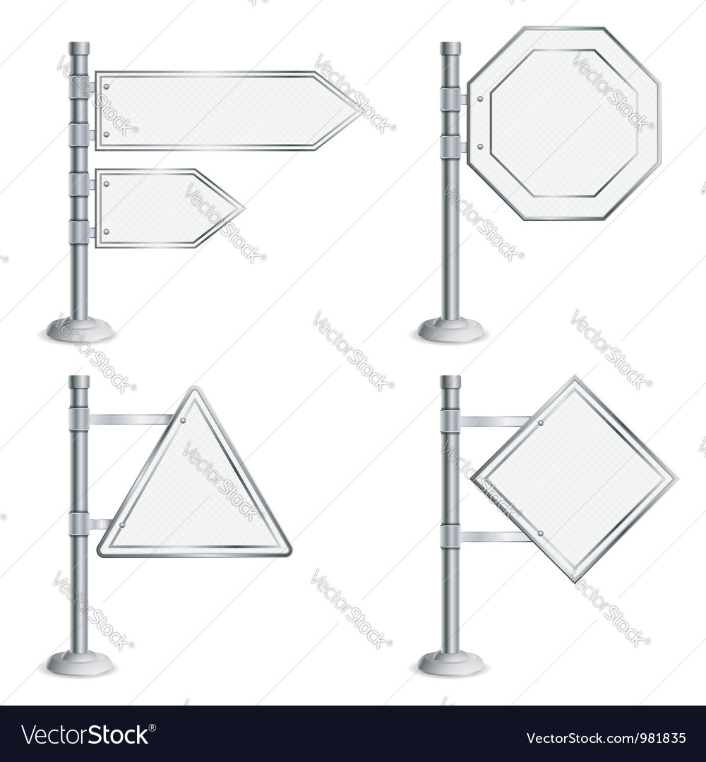 Set poles with traffic signs vector | Price: 1 Credit (USD $1)