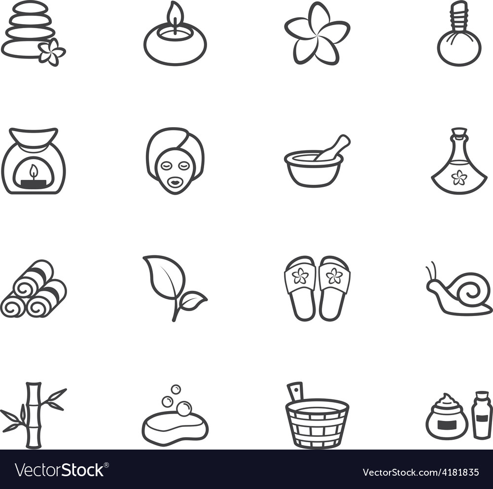 Spa element black icon set on white background vector | Price: 1 Credit (USD $1)