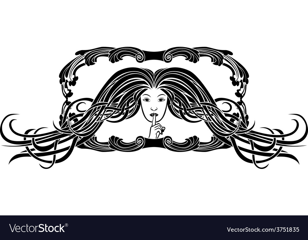 Symbol of silence girl pressing a finger to lips vector