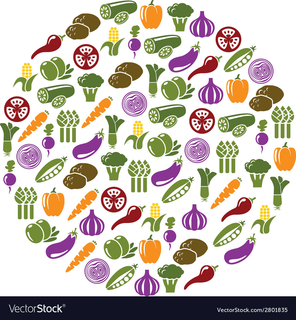 Vegetable icons in circle vector | Price: 1 Credit (USD $1)