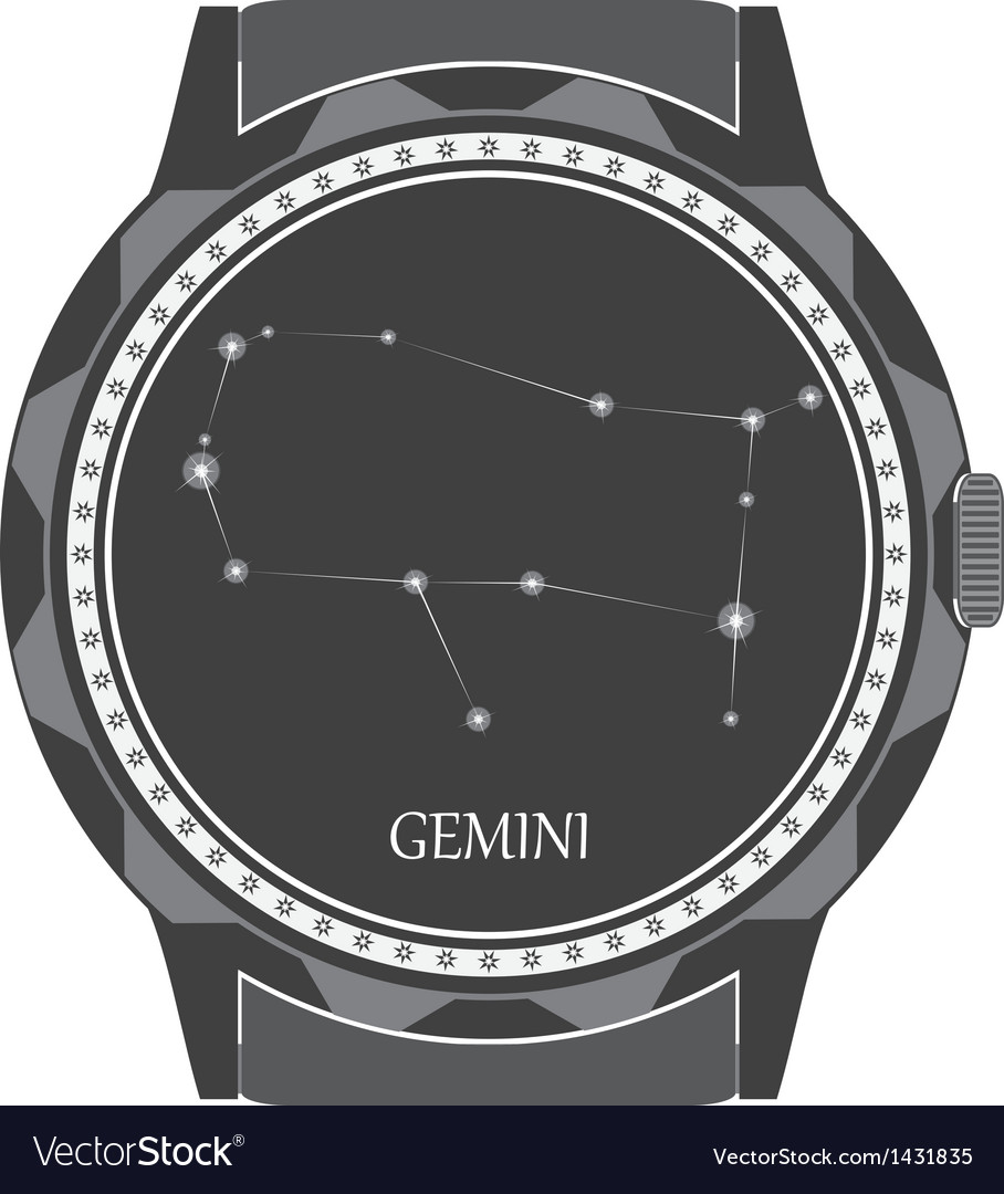 The watch dial with the zodiac sign gemini vector | Price: 1 Credit (USD $1)