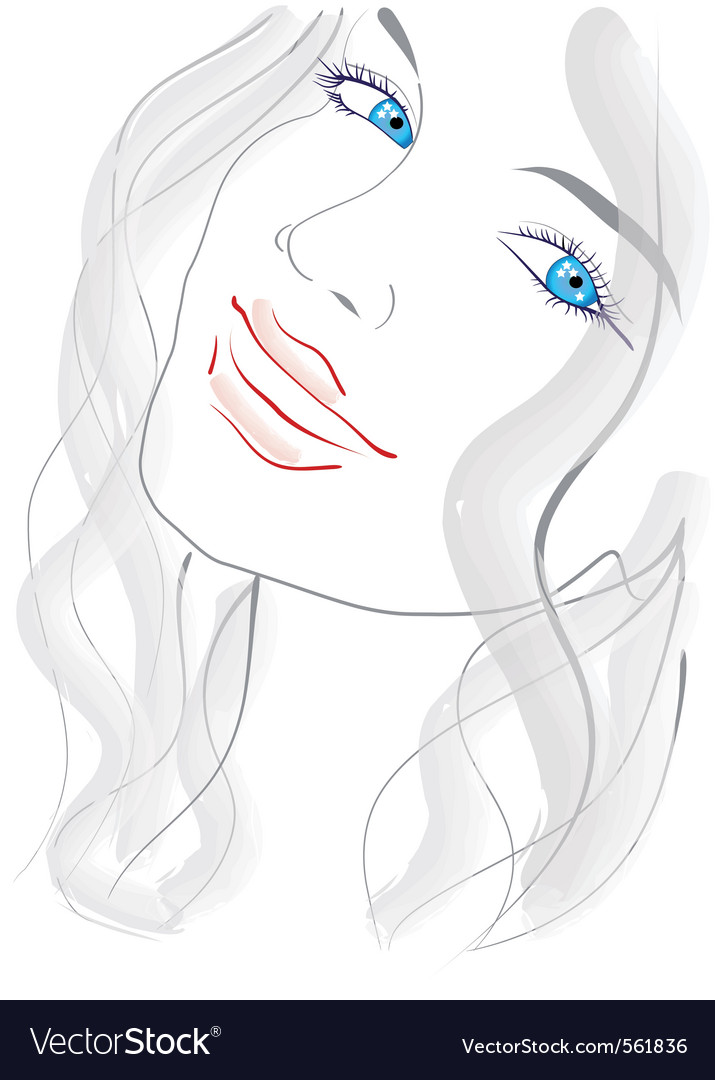 Blue eyed girl vector | Price: 1 Credit (USD $1)