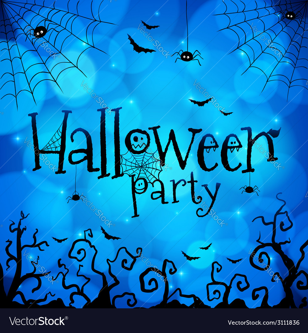 Blue halloween invitation cover template vector | Price: 1 Credit (USD $1)