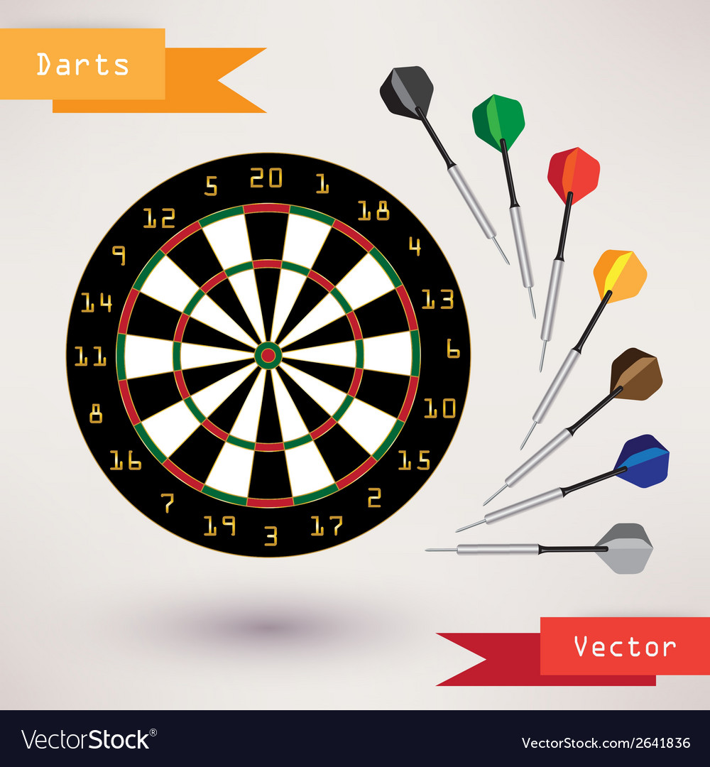 Darts target and darts on white background vector | Price: 1 Credit (USD $1)
