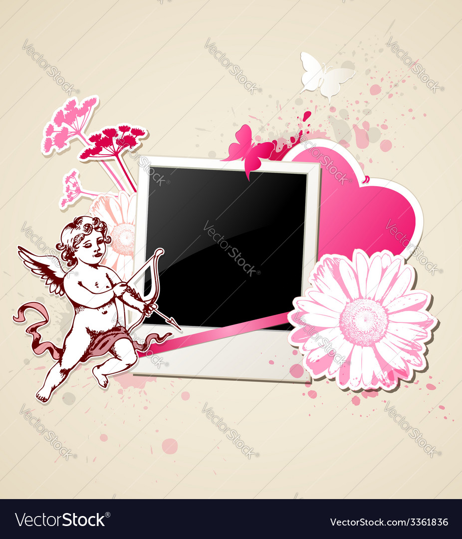 Decorative background with photo and cupid vector | Price: 1 Credit (USD $1)