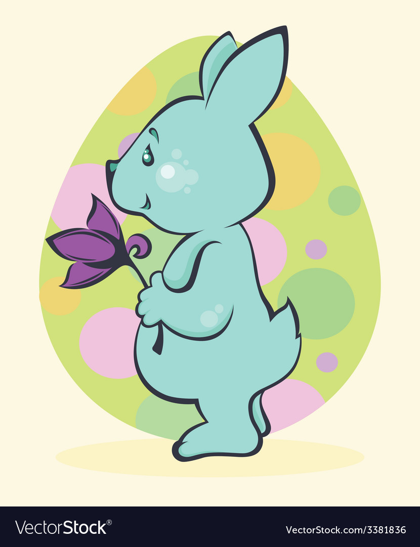 Easter rabbit card vector | Price: 1 Credit (USD $1)