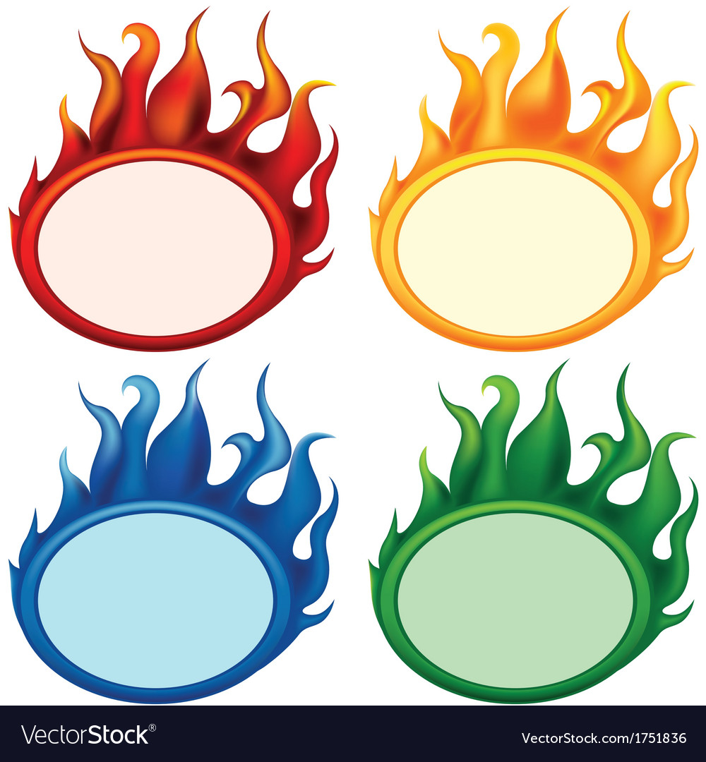 Fire oval banners vector | Price: 1 Credit (USD $1)