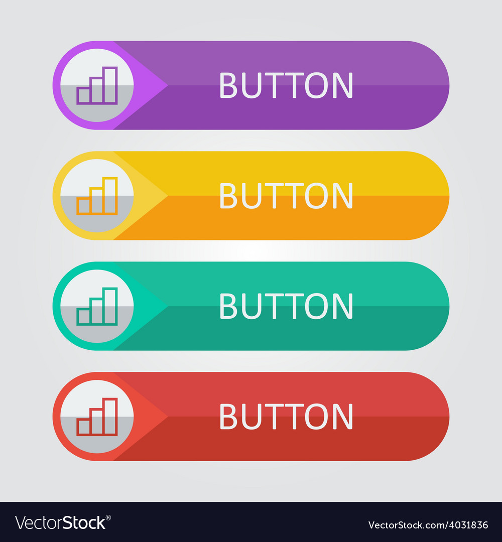Flat buttons with statistic icon vector | Price: 1 Credit (USD $1)