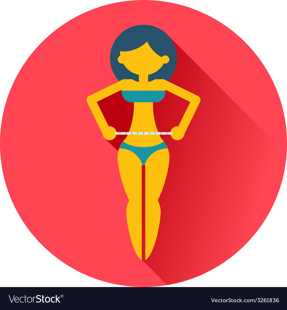 Girl measures a waist icon vector | Price: 1 Credit (USD $1)