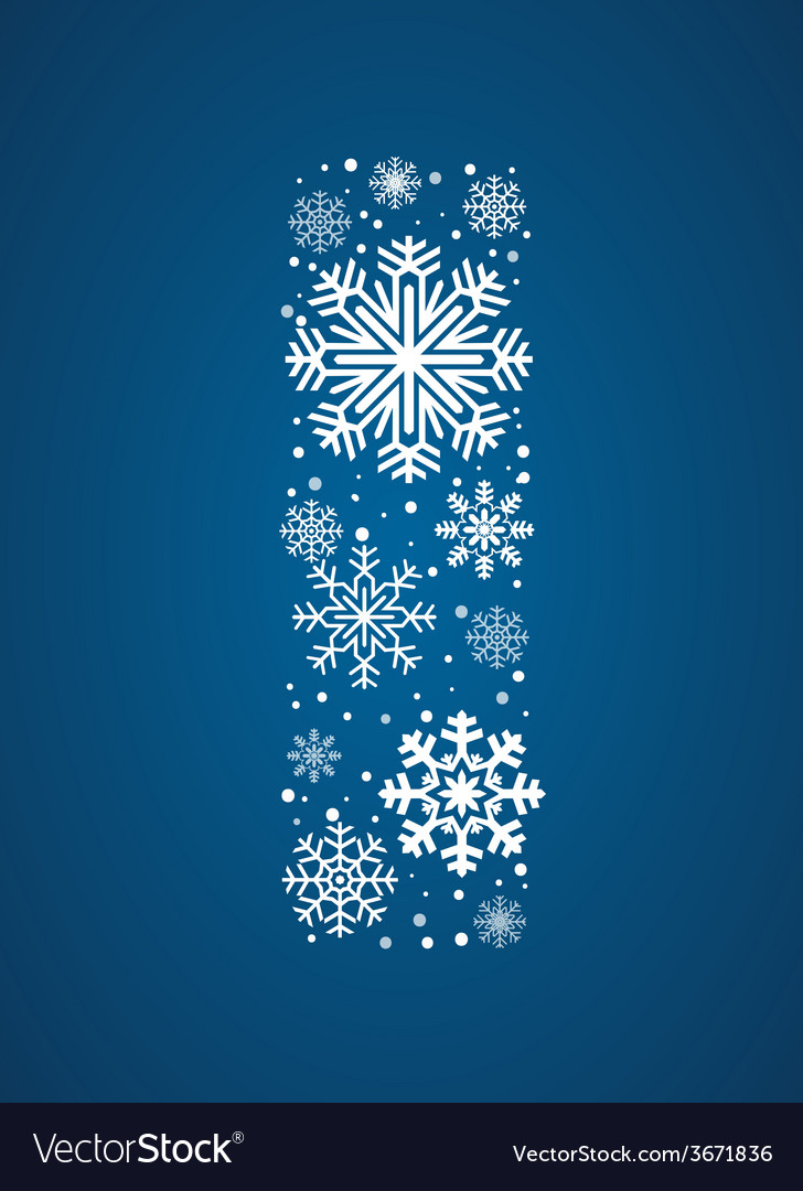 Letter i font frosty snowflakes vector | Price: 1 Credit (USD $1)