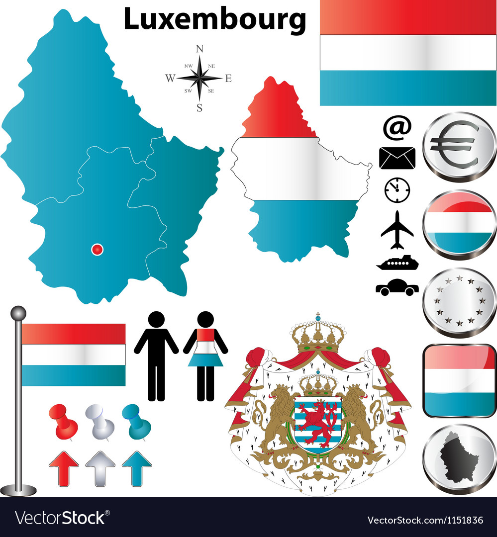 Luxembourg map vector | Price: 1 Credit (USD $1)