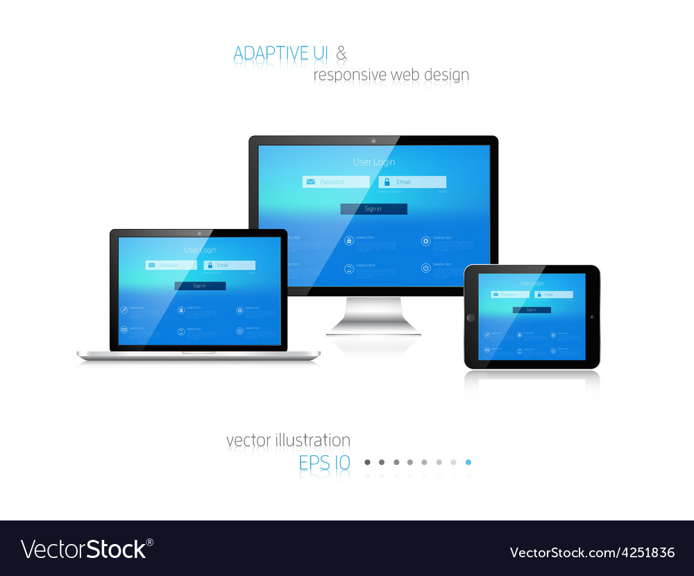 Responsive web design adaptive user interface vector | Price: 1 Credit (USD $1)
