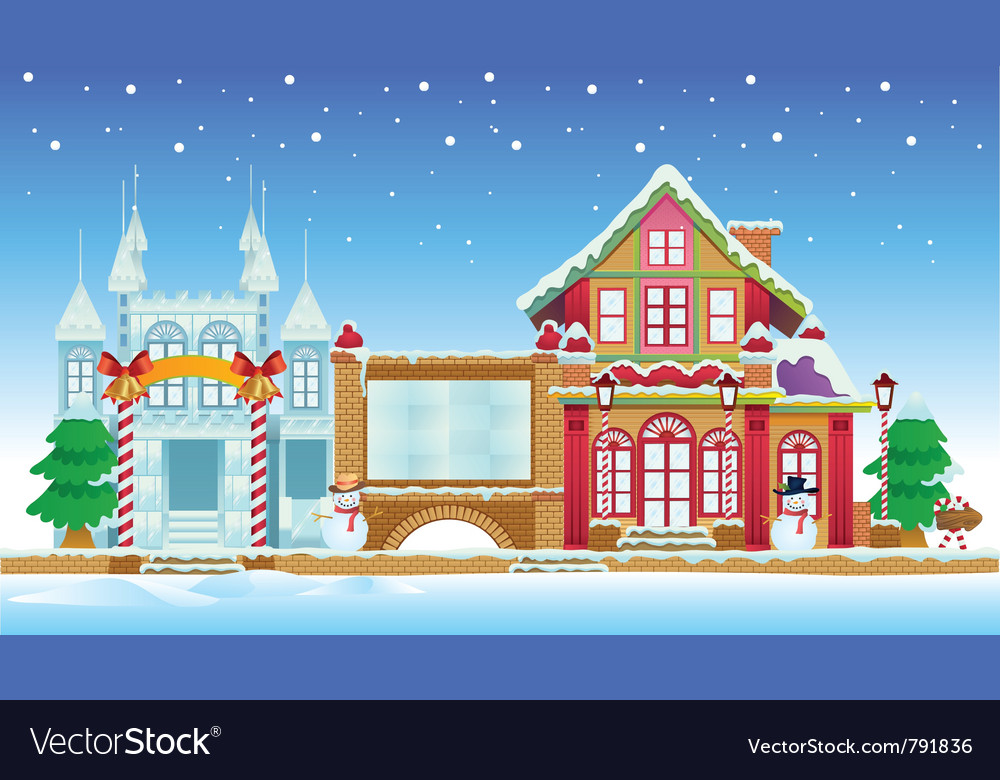 Santa house and ice castle vector | Price: 3 Credit (USD $3)